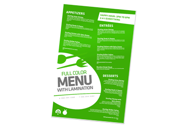 Laminated 11 X 17 Menus Printing Tempe | Menus Printer Phoenix Arizona